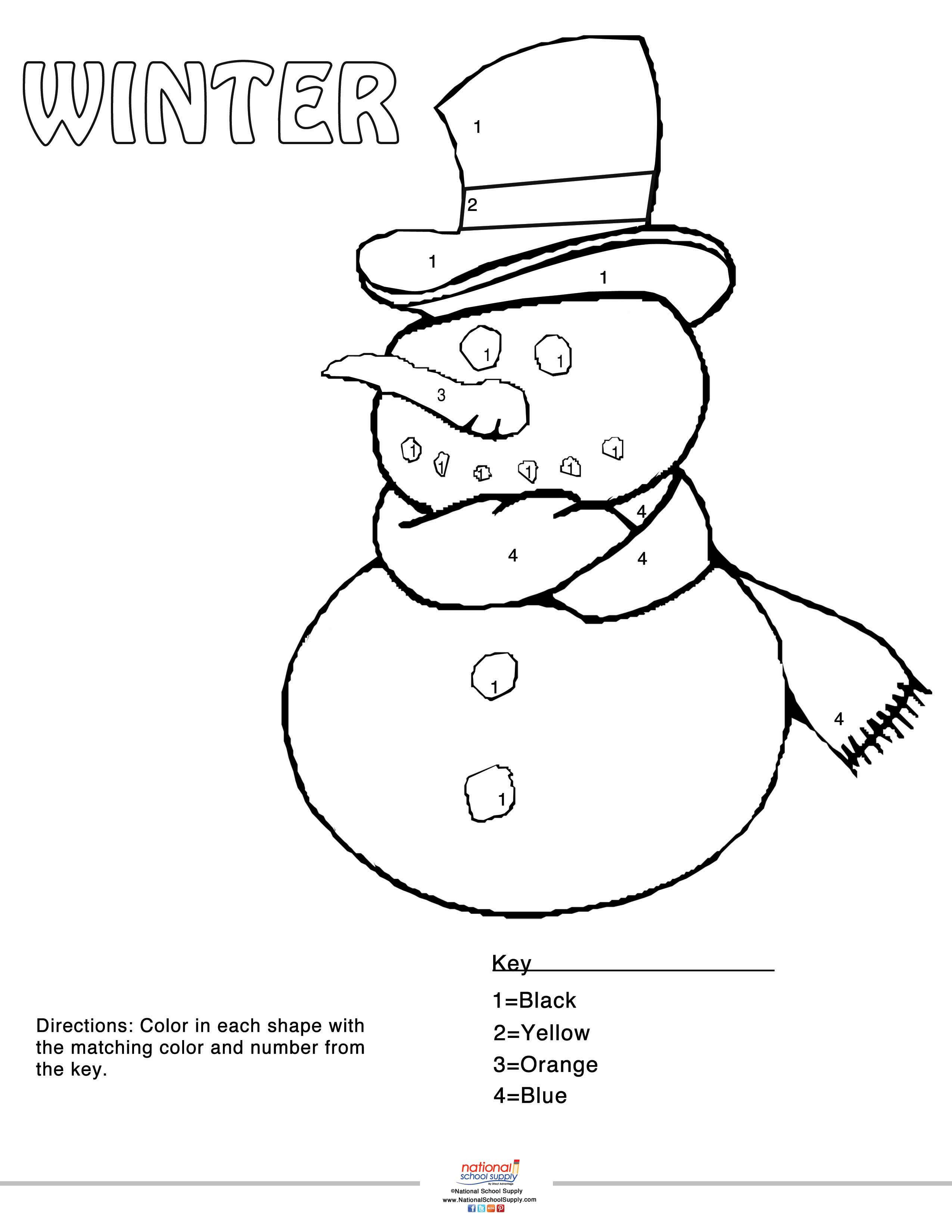 Our Winter Color By Number Snowman Printable