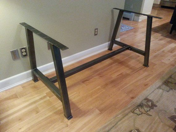 A 2 Metal Table Legs With Cross Bar Brace By
