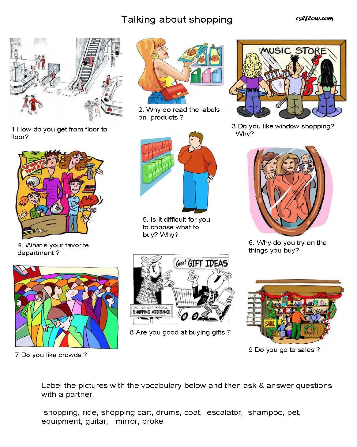 Esl Shopping Speaking Activity