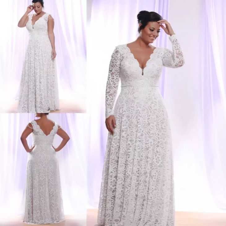 Cheap Plus Size White Lace Evening Dress  Long Sleeves Deep V