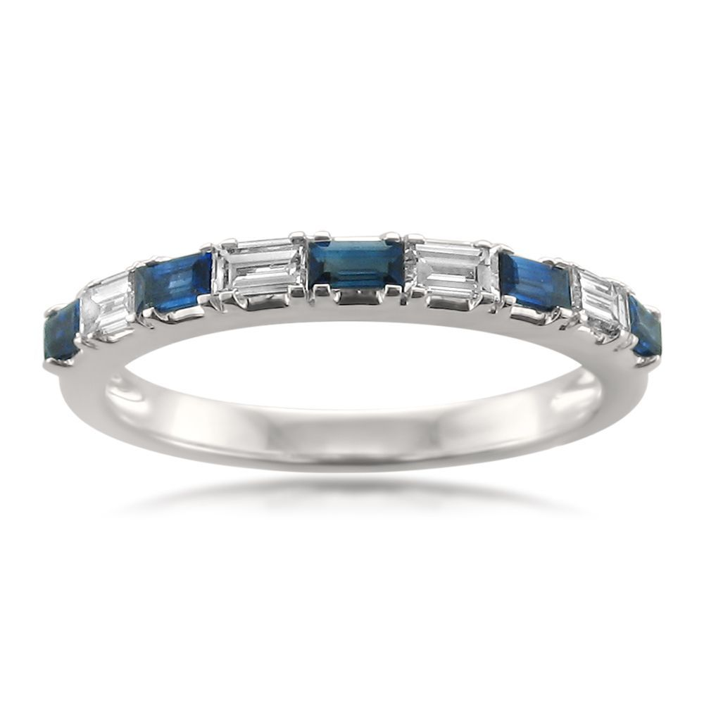 Blue Sapphire Wedding Band Stunning Ct Diamond U Blue