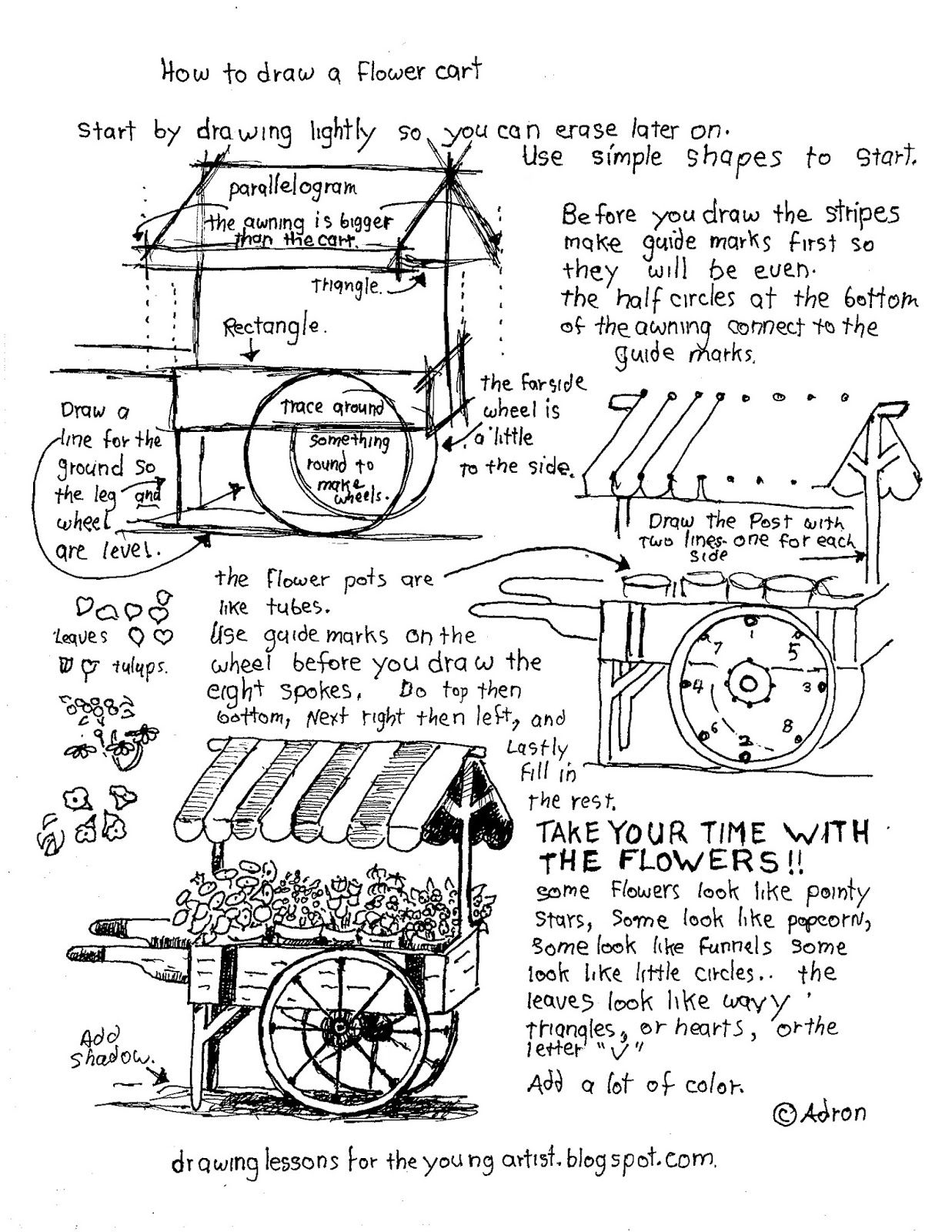 How To Draw Worksheets For The Young Artist How To Draw A Flower Cart Printable Worksheet
