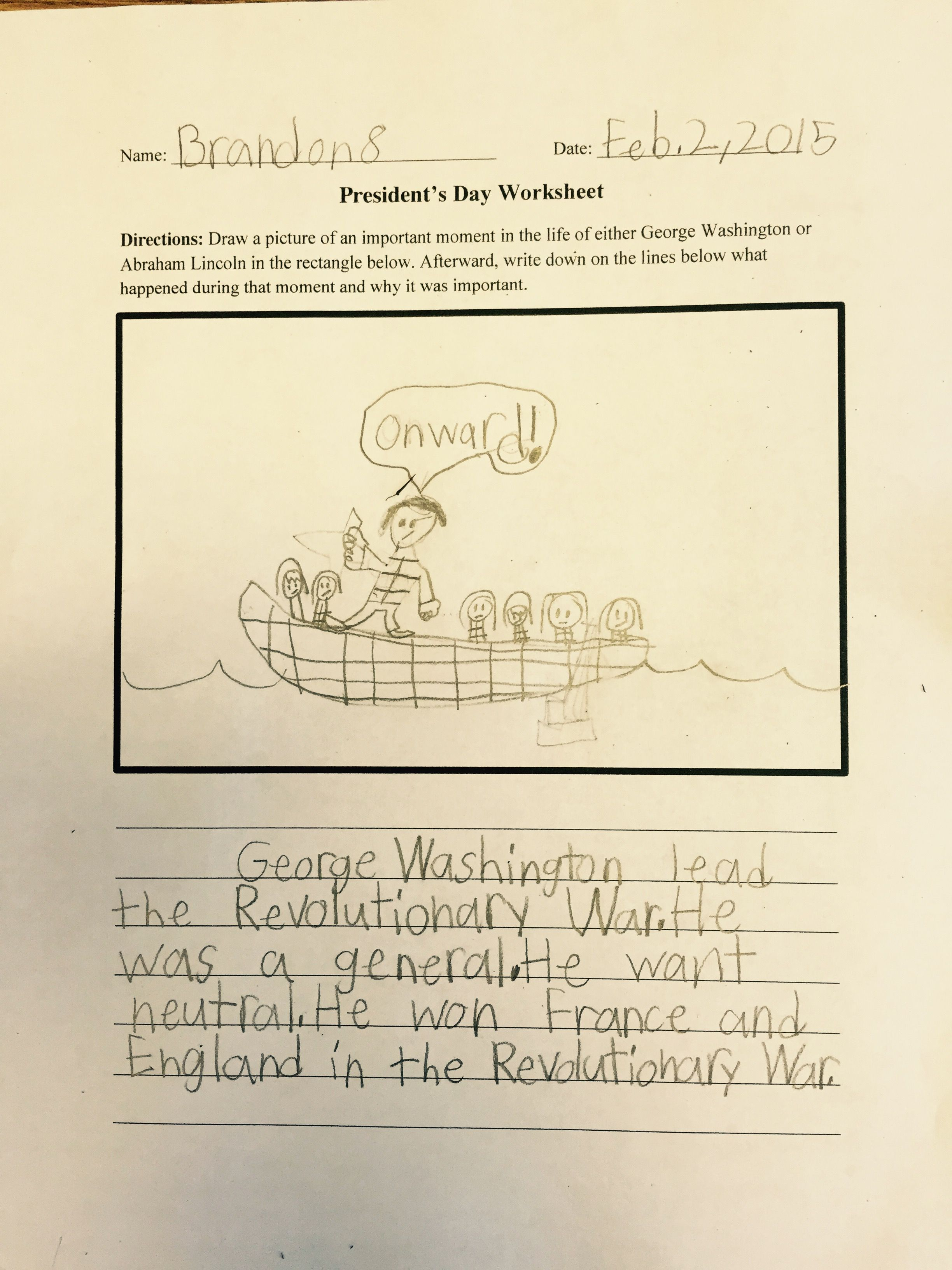 3rd Grade Presidents Day Worksheet With The Instructions Draw An Important Moment In The Life