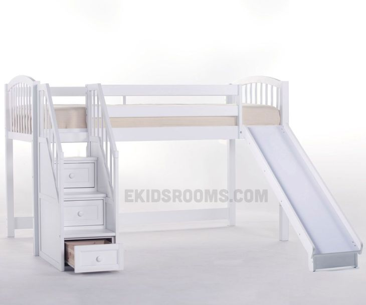School House Junior Low Loft Bed with Stairs and Slide  NE Kids