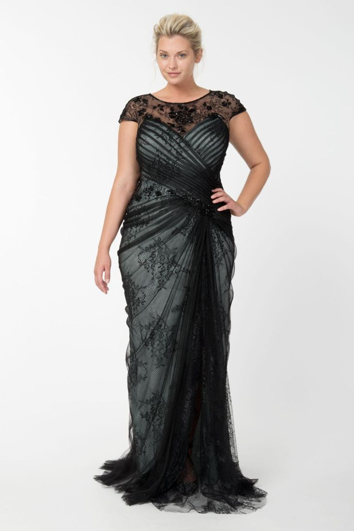 Lace and Draped Tulle Gown in Black Marble Tadashi Shoji Fall
