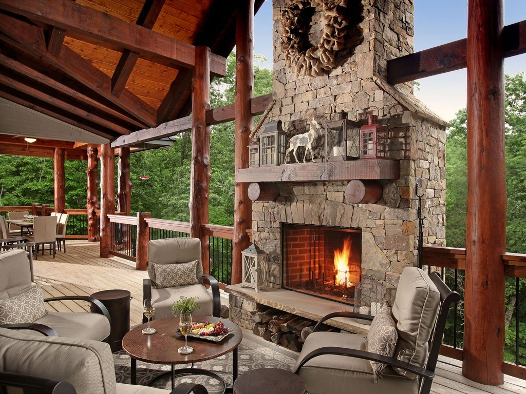 Rustic Deck With Outdoor Fireplace, Wrap Around Porch