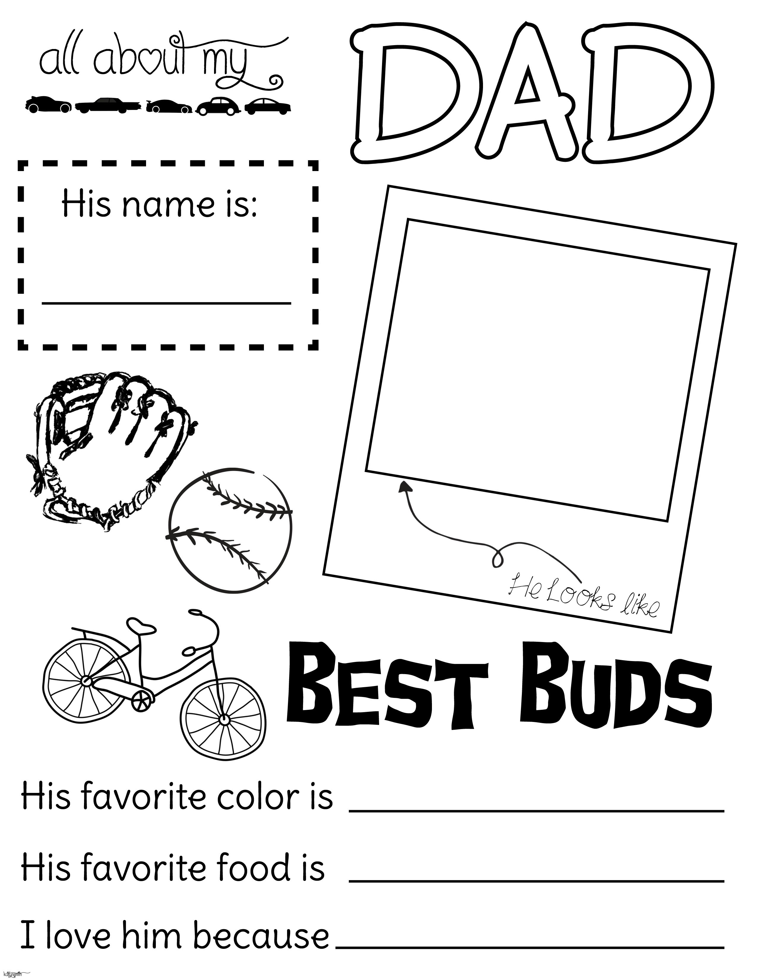 All About My Dad Fathers Day Handout Fillout Coloring