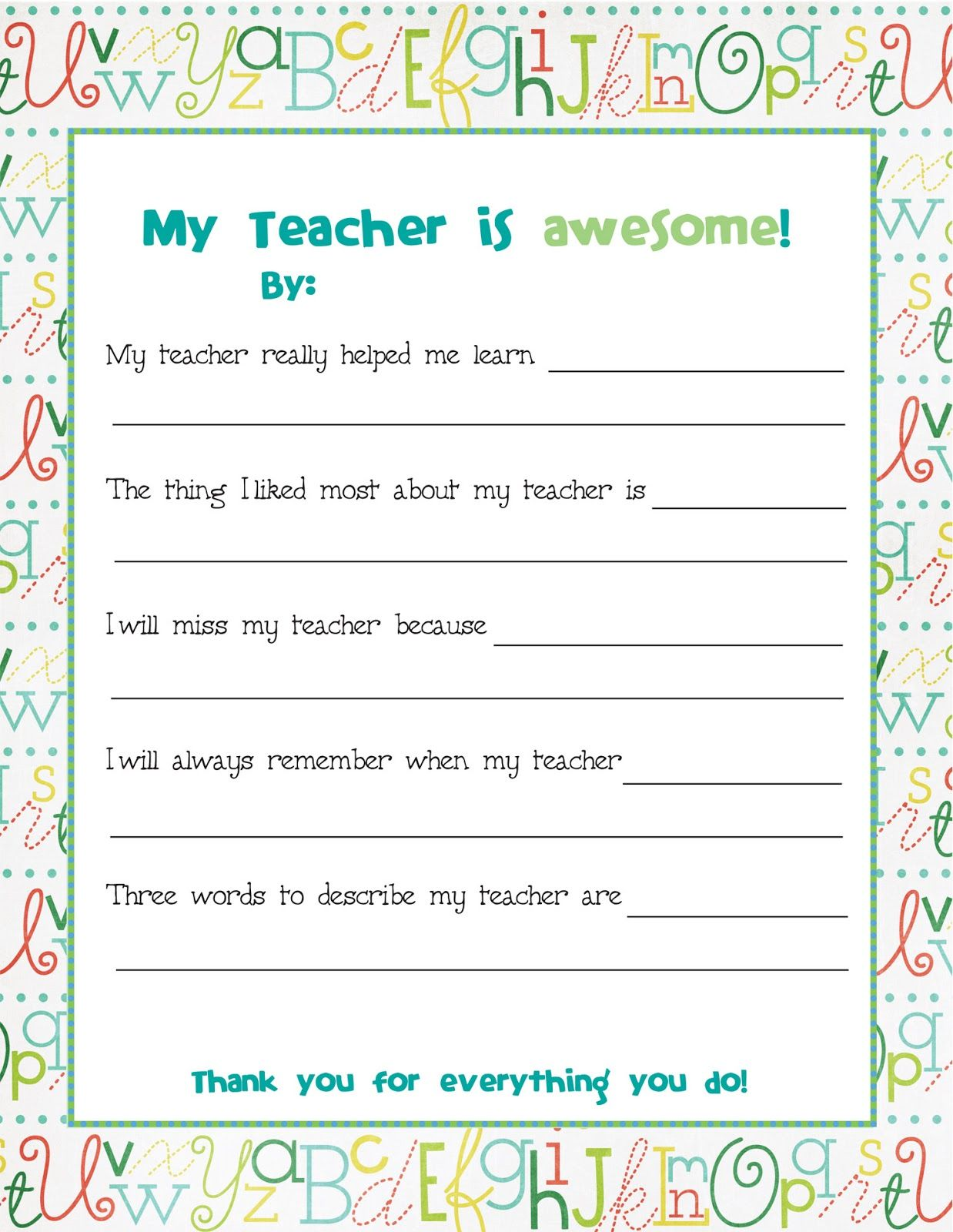 End Of Year Teacher Card Nd This To All The Kids To
