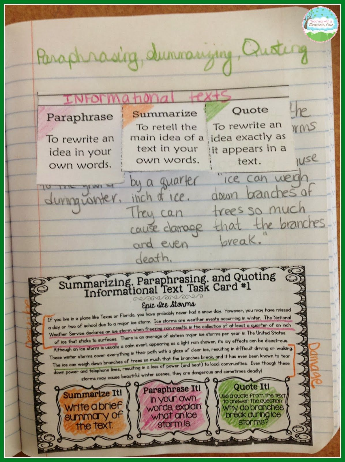 Paraphrasing Worksheet 5th Grade