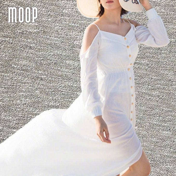 Women summer bohemian blue white long dress long sleeve cold
