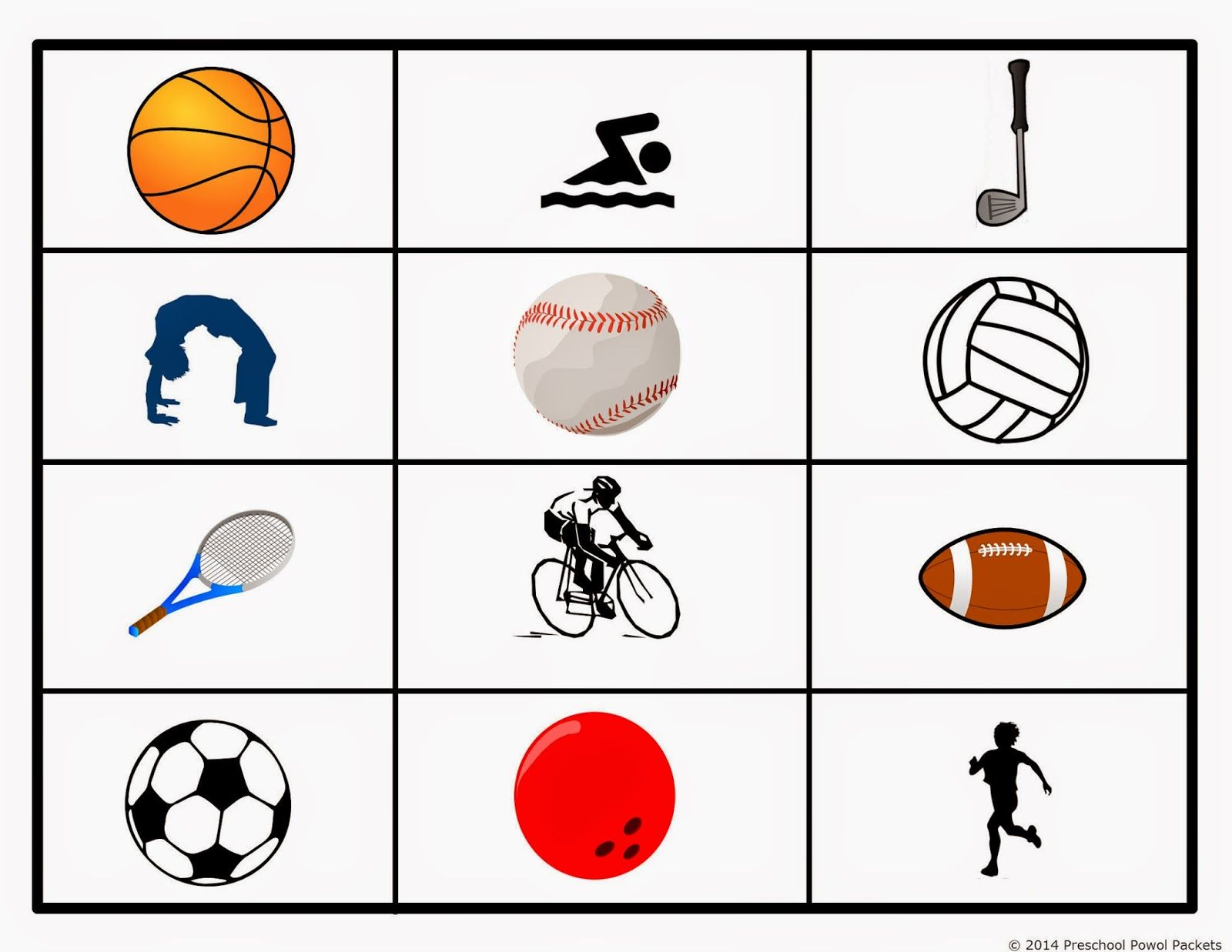 Free Preschool Sports Grid Game