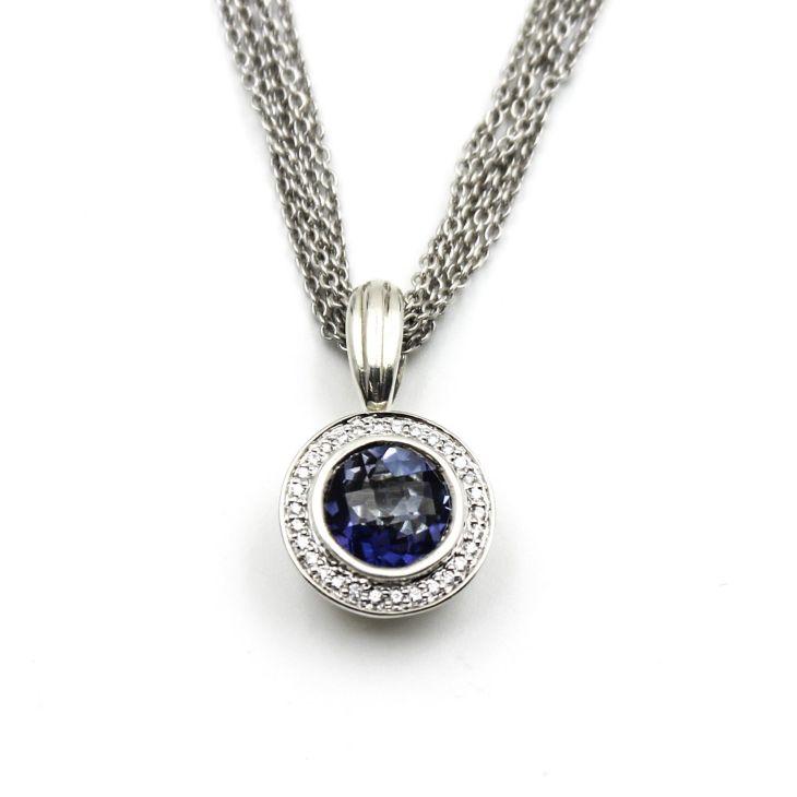 CHARLES KRYPELL Blue Quartz Diamond Pendant Necklace in k Gold