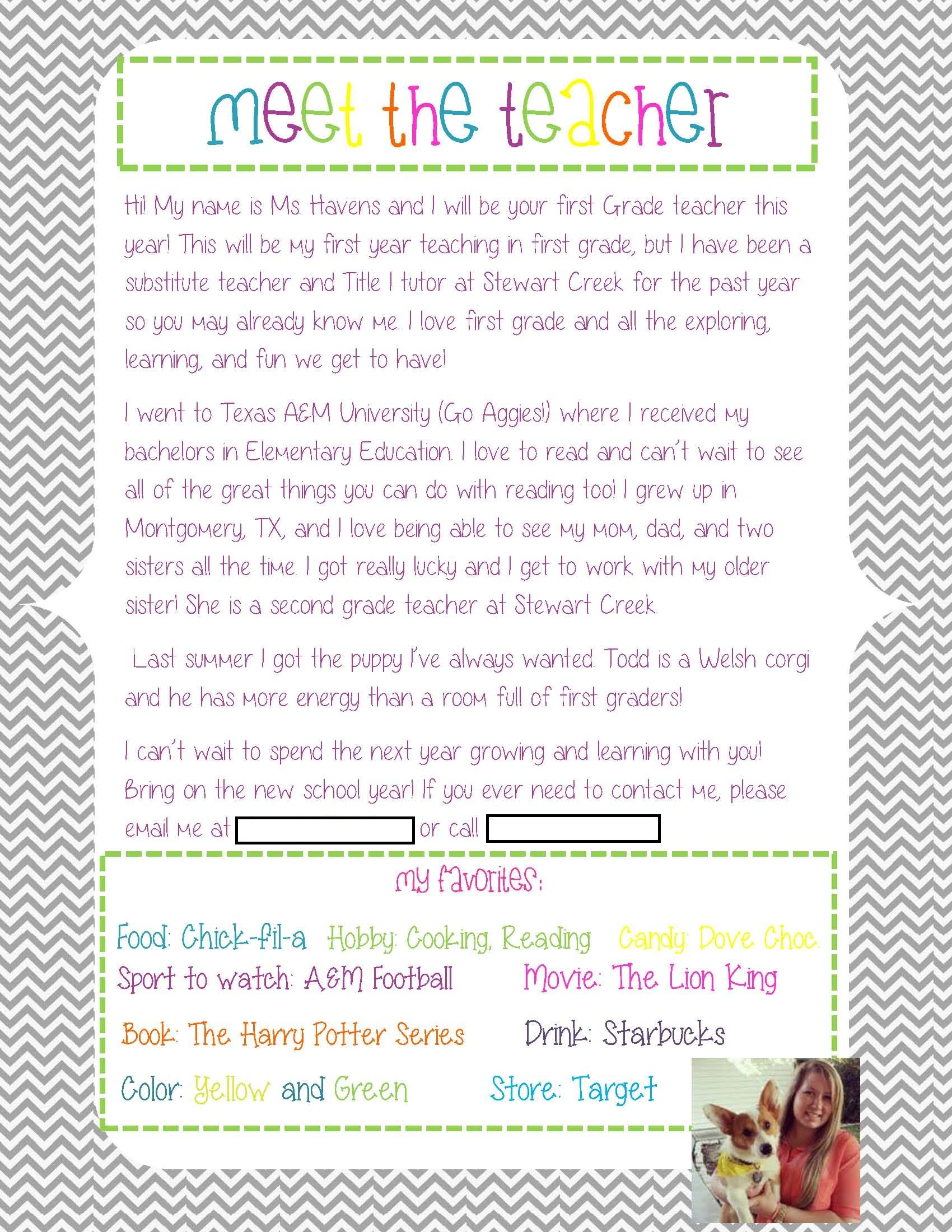 Meet The Teacher Letter To Give Out At The Beginning Of