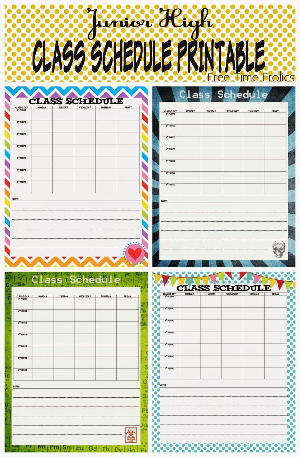 Junior High Class Schedule Printable