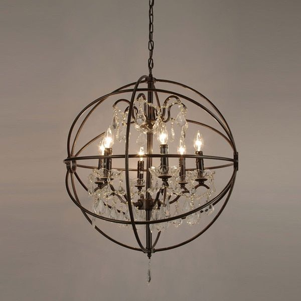 Foucault S Orb Crystal Iron 6 Light Chandelier 349