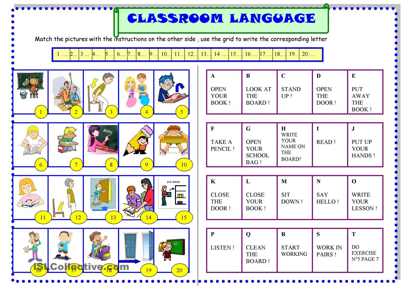 Classroom Language For Beginners Esl Printable Worksheet Of The Day By Sylviepieddaignel On