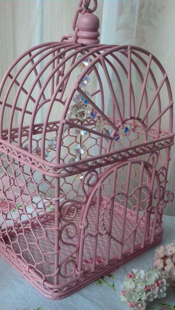 Vintage Pink Birdcage Shabby Chic Chandelier