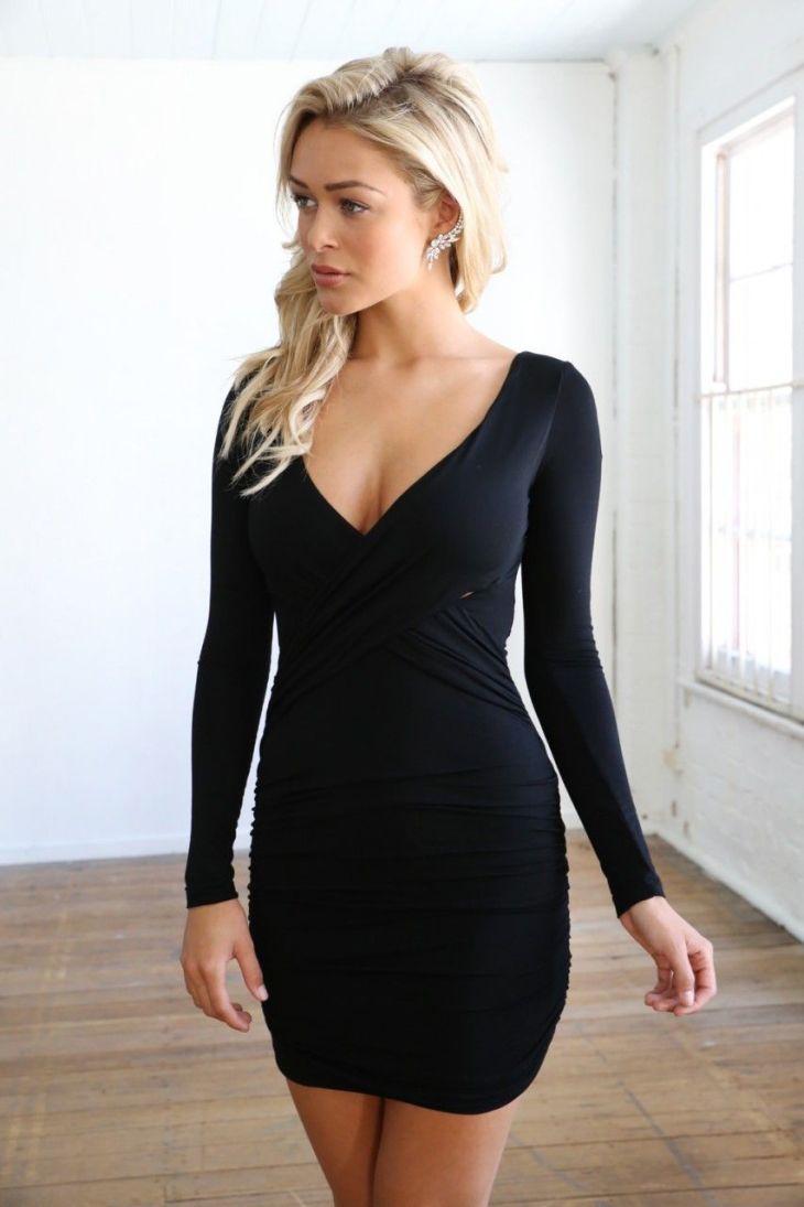 Black Long Sleeve V Neck Bodycon Dress Dannyus Grad Pinterest