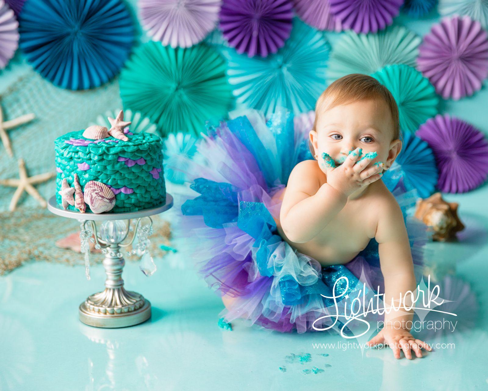 Mermaid 1st Birthday Cake Smash Photo Custom Cake Tutu
