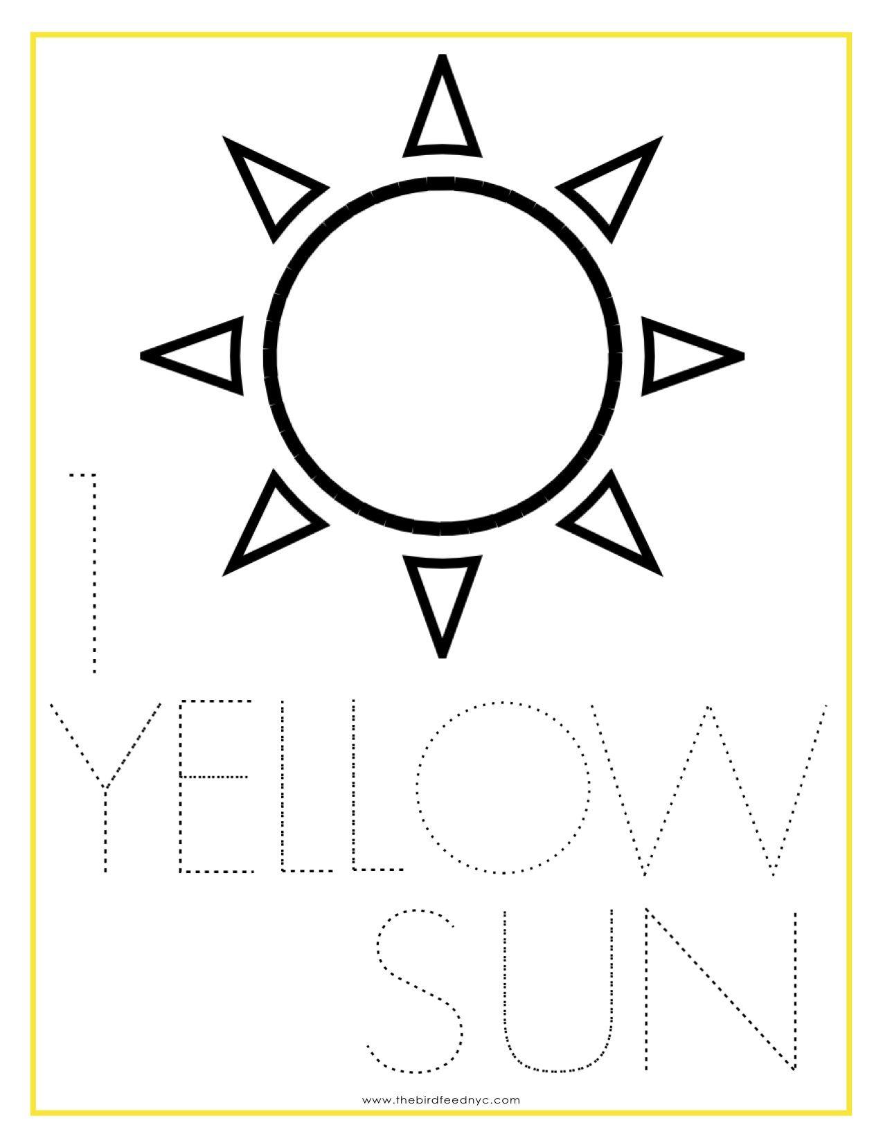 Numbers Coloring Sheet 1 Yellow Sun Kids