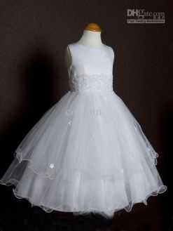 Wholesale First Communion Dresses   Buy Adorable Satin And Tulle     Wholesale First Communion Dresses   Buy Adorable Satin And Tulle First  Communion Dresses with 3 Layers