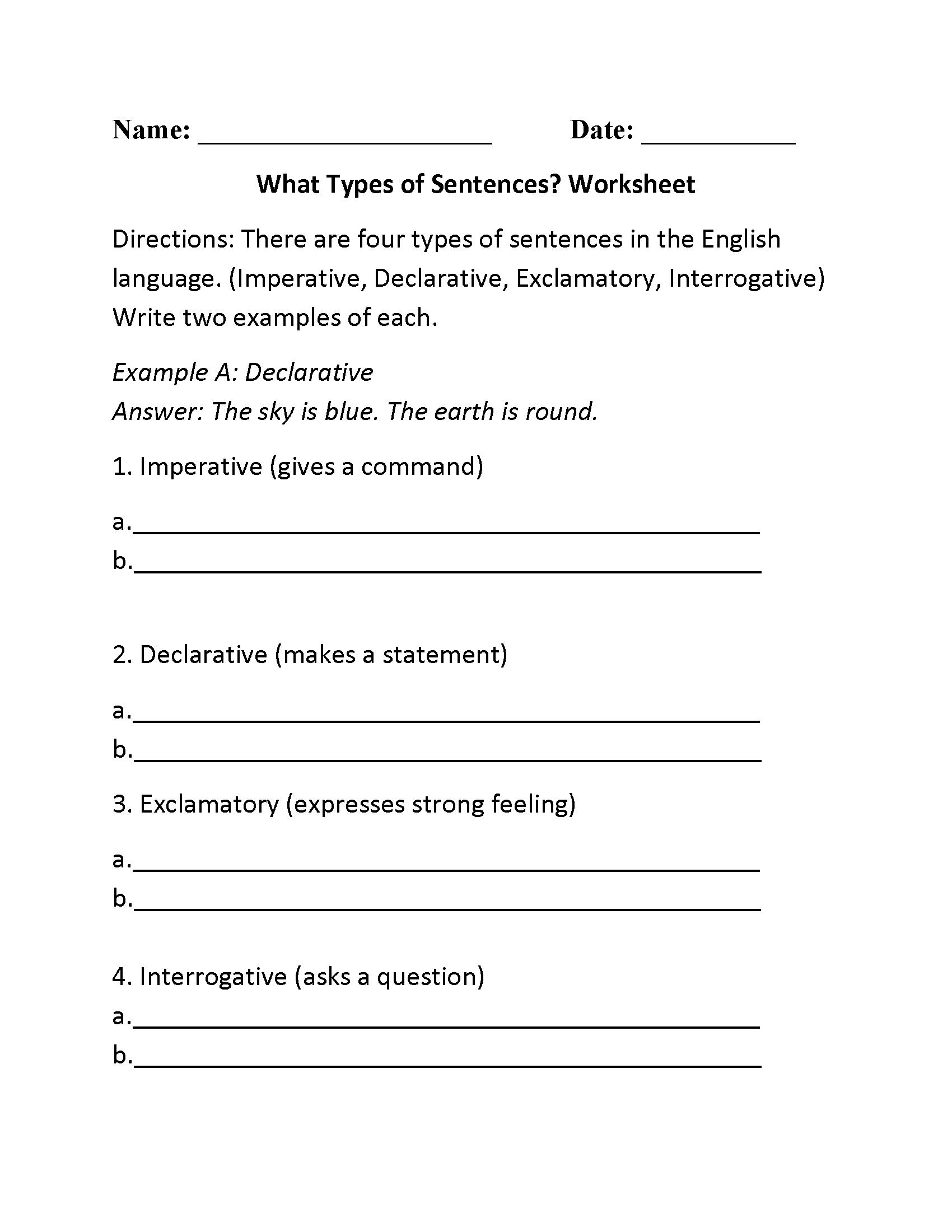 What Types Of Sentences Worksheet