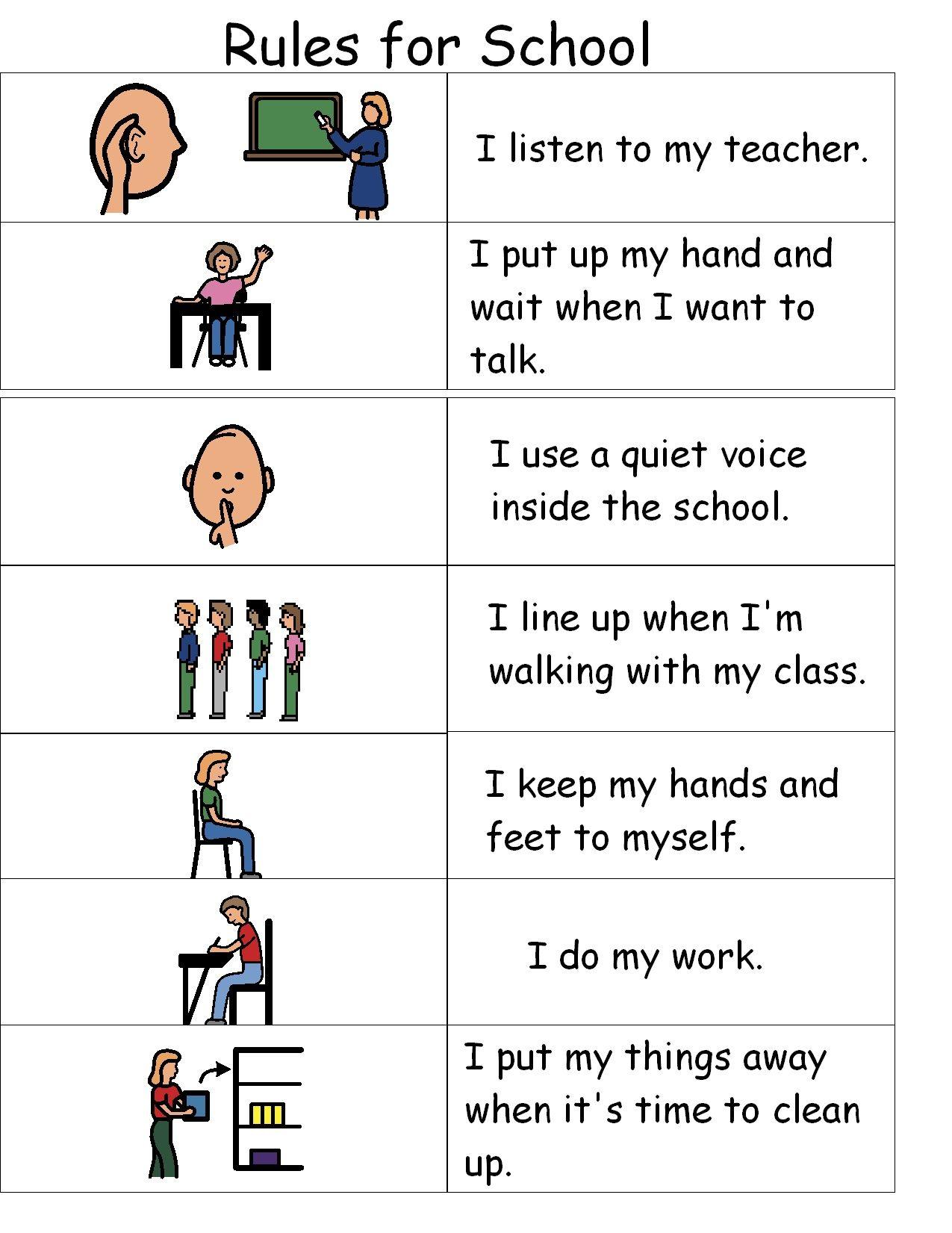 Autism Classroom Rules