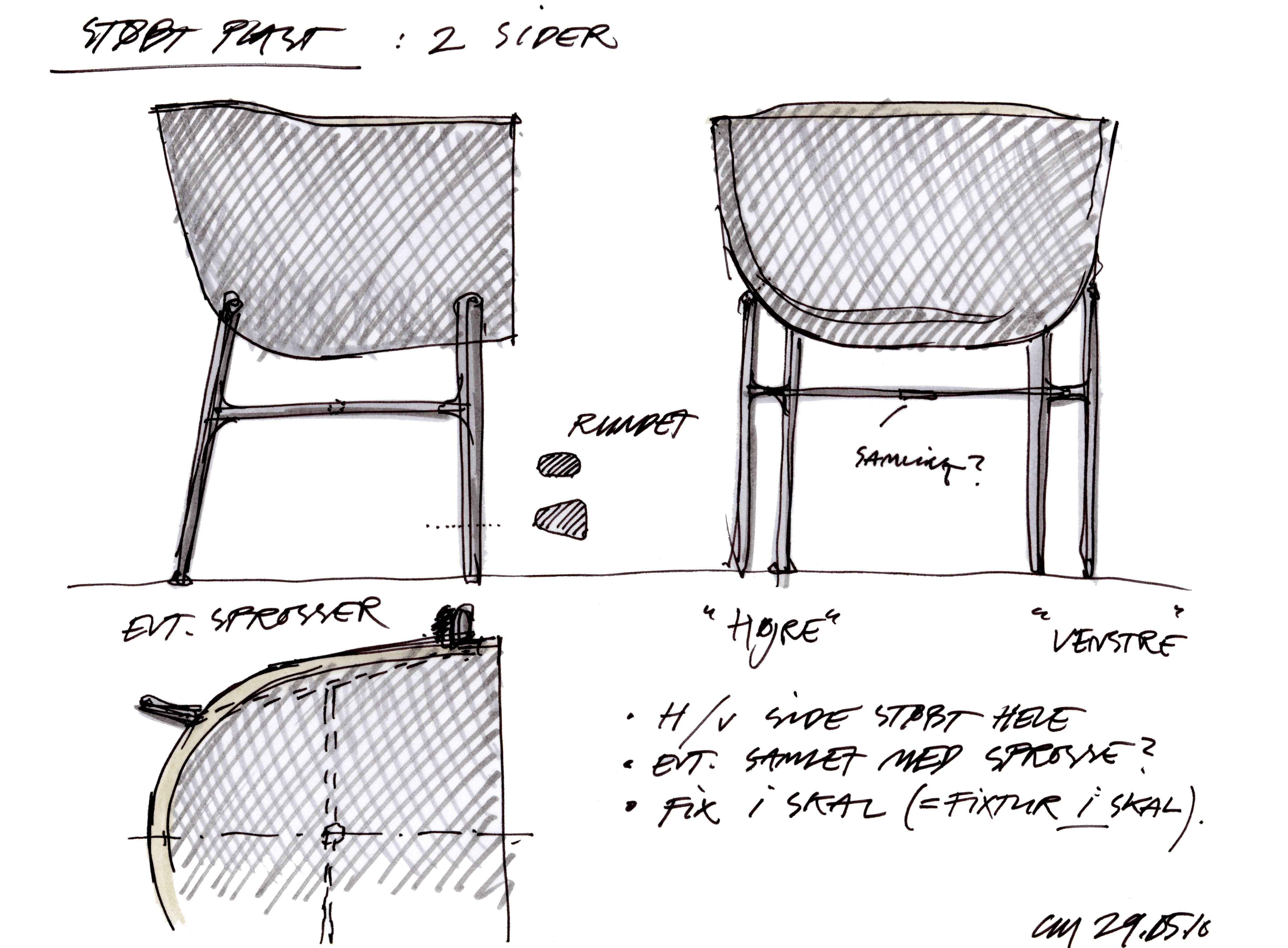 Sketch By Cecilie Manz Of The Minuscule Chair