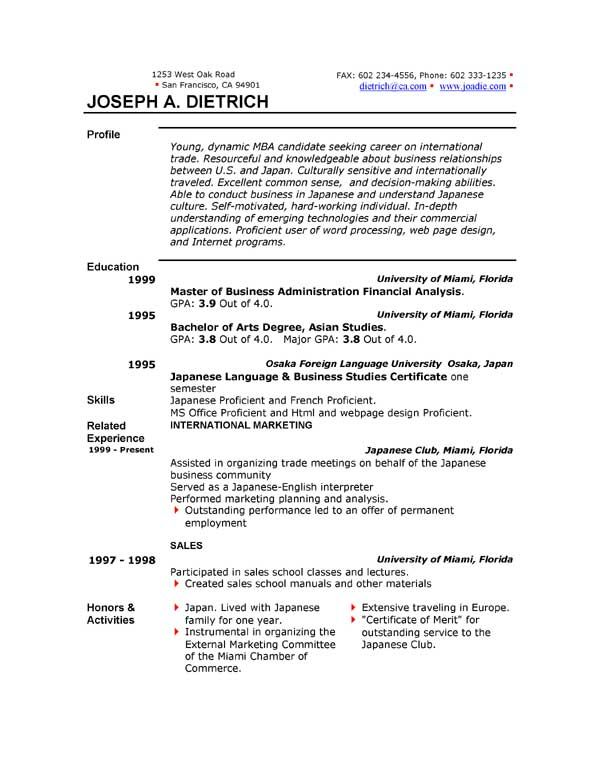 Is There A Resume Template In Microsoft Word 2003 Format 2010