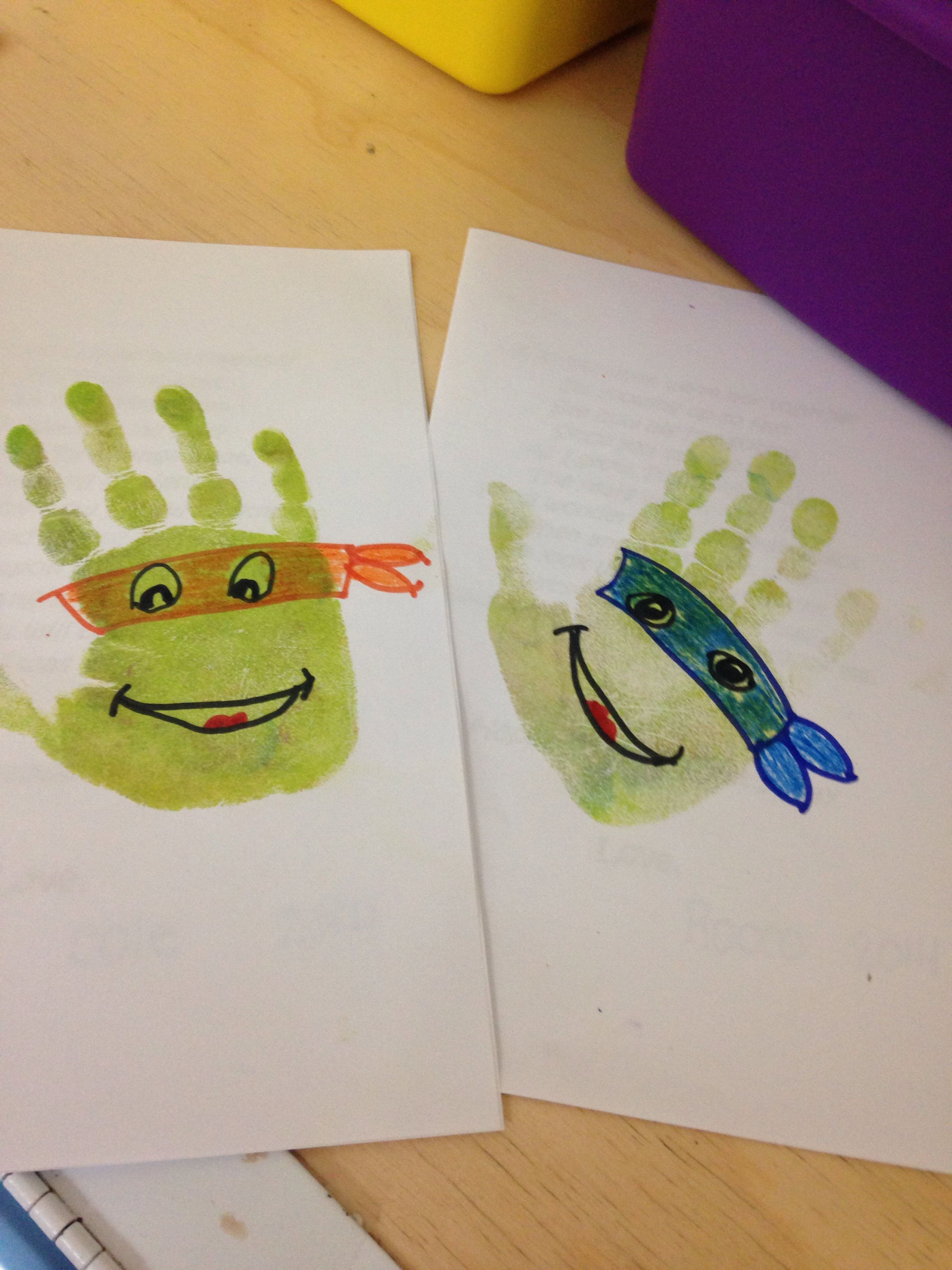 Preschool Ninja Turtle Handprint Stamp We Re Definitely Doing These