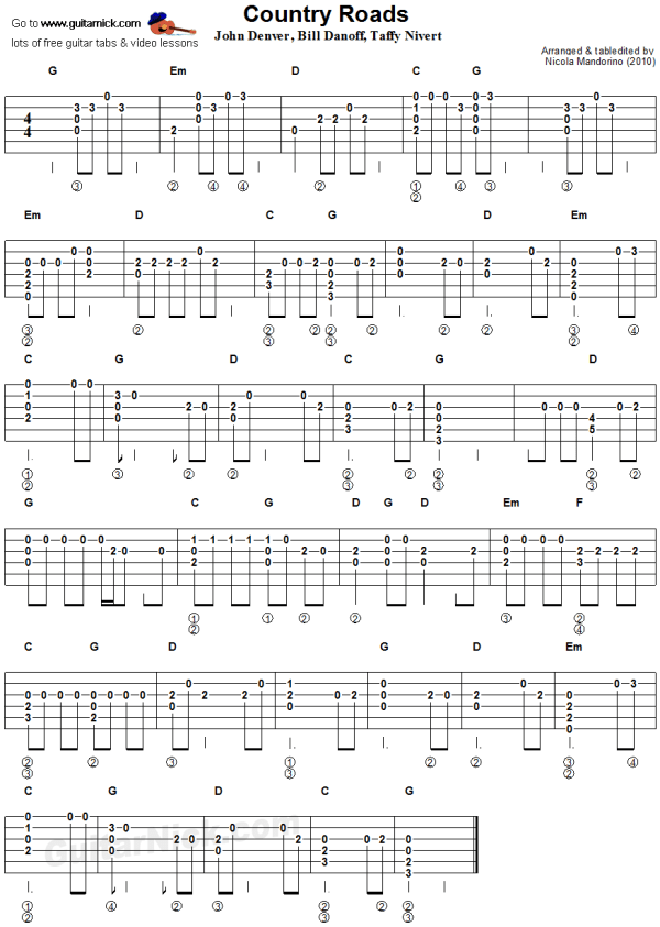 Country Roads flatpicking guitar tablature sheet music