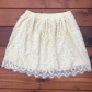 H&m yellow lace dress  HuM floral lace skirt  Cream tops Lace skirt and Floral lace