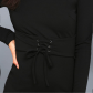 Black lace up long sleeve bodycon dress get hearts racing in this