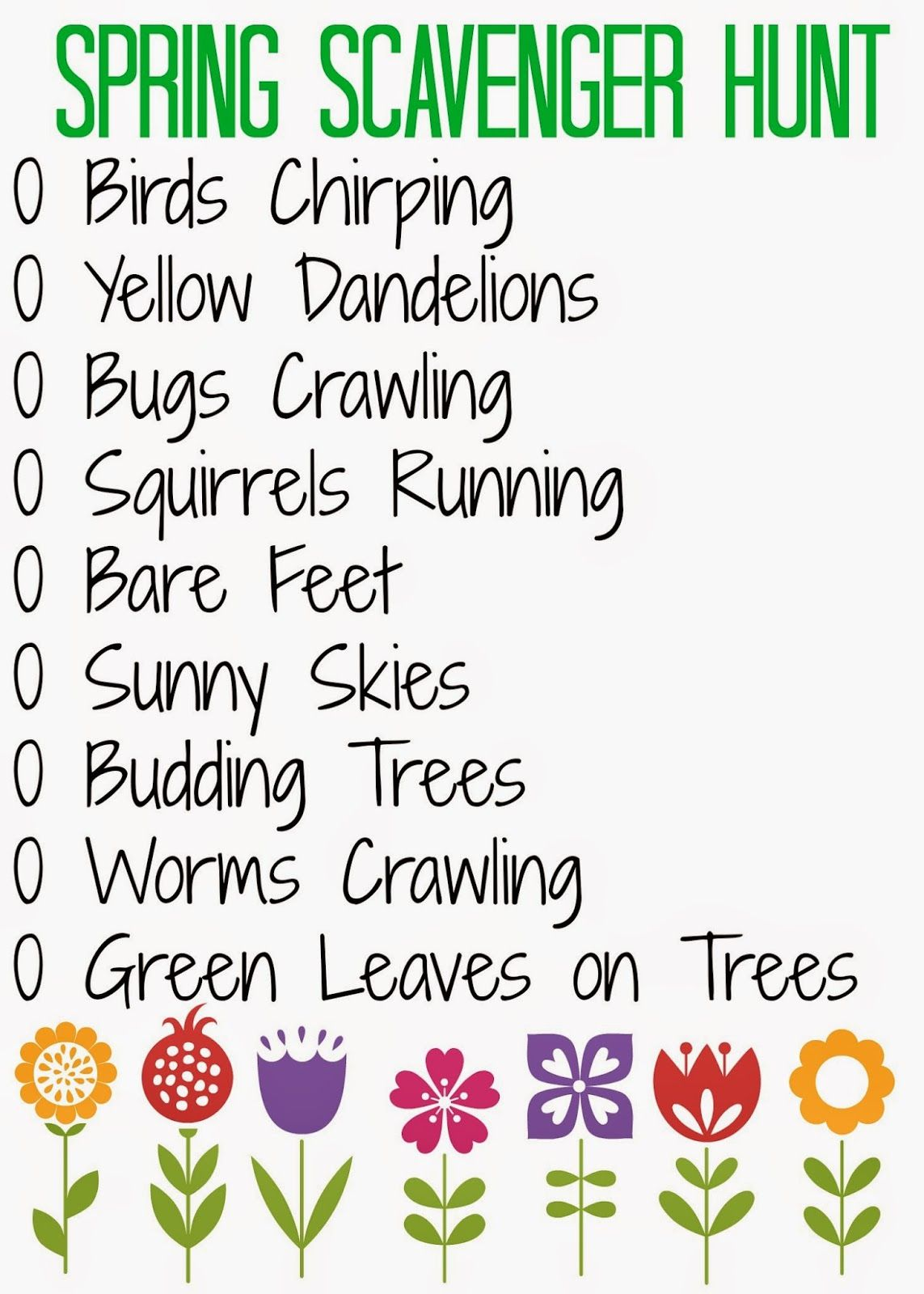 Spring Scavenger Hunt With Kids Free Printable