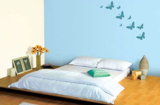 Blue Bedroom Feature Wall In Soft 9210 With Neutral On Other