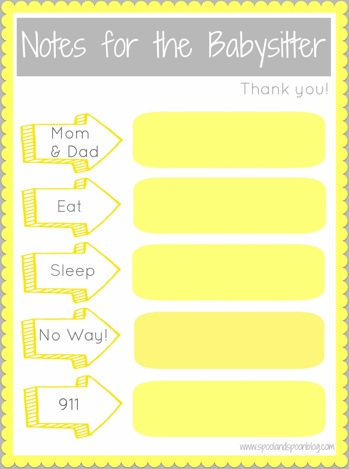 Spool And Spoon Notes For The Babysitter Printable Also Notes From The Babysitter Printable