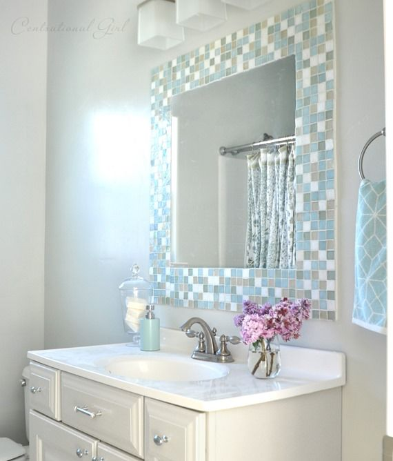 trending diy mirror projects | mosaic tile bathrooms, bathroom