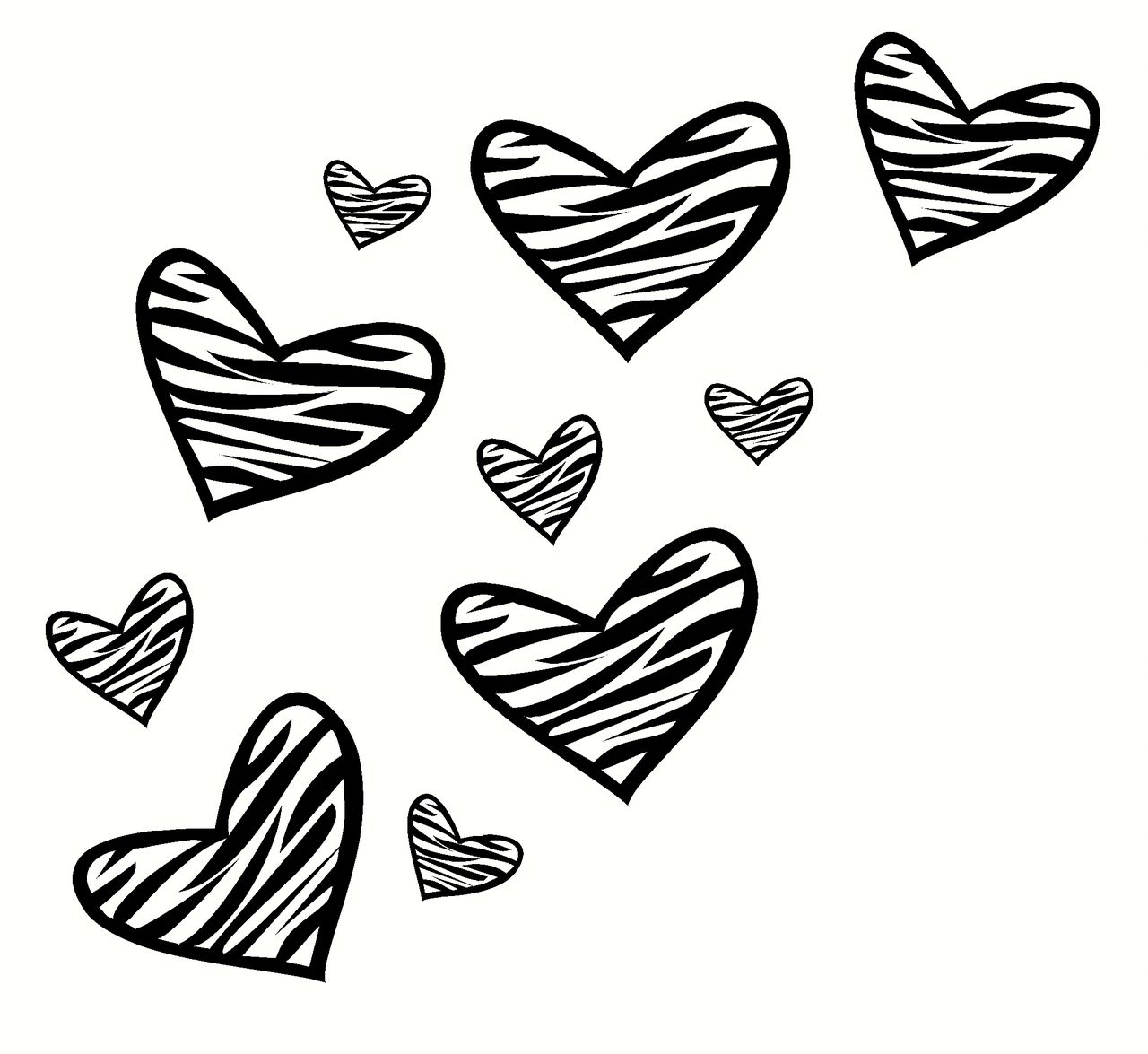 Zebra Print Heart Wall Decor Vinyl Decal Stickers 10pc