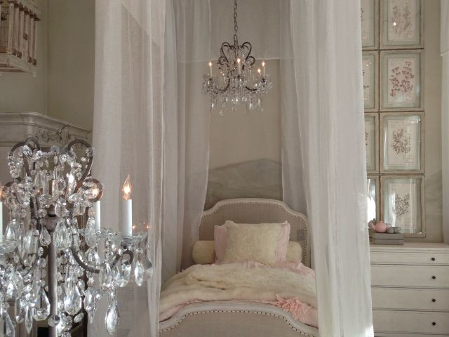 Shabby Chic Little Princess Bedroom with a luxuriously canopied
