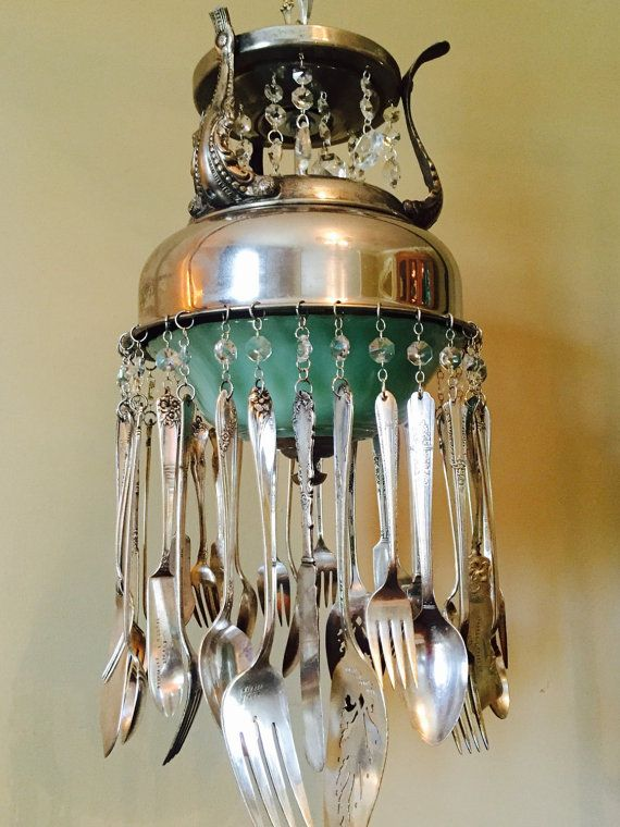 Silverware Chandelier Pendant Hanging Light Repurposed Recycled And Vintage