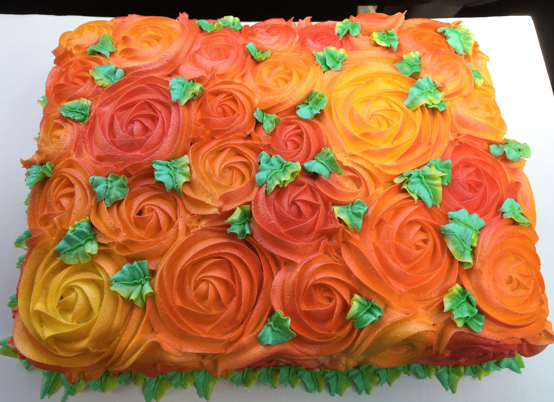 Fall Colors Buttercream Rose Swirl Sheet Cake
