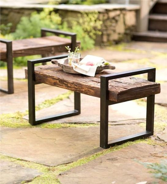 pinterest garden bench ideas Reclaimed Wood And Iron Outdoor Bench | Earth Friendly