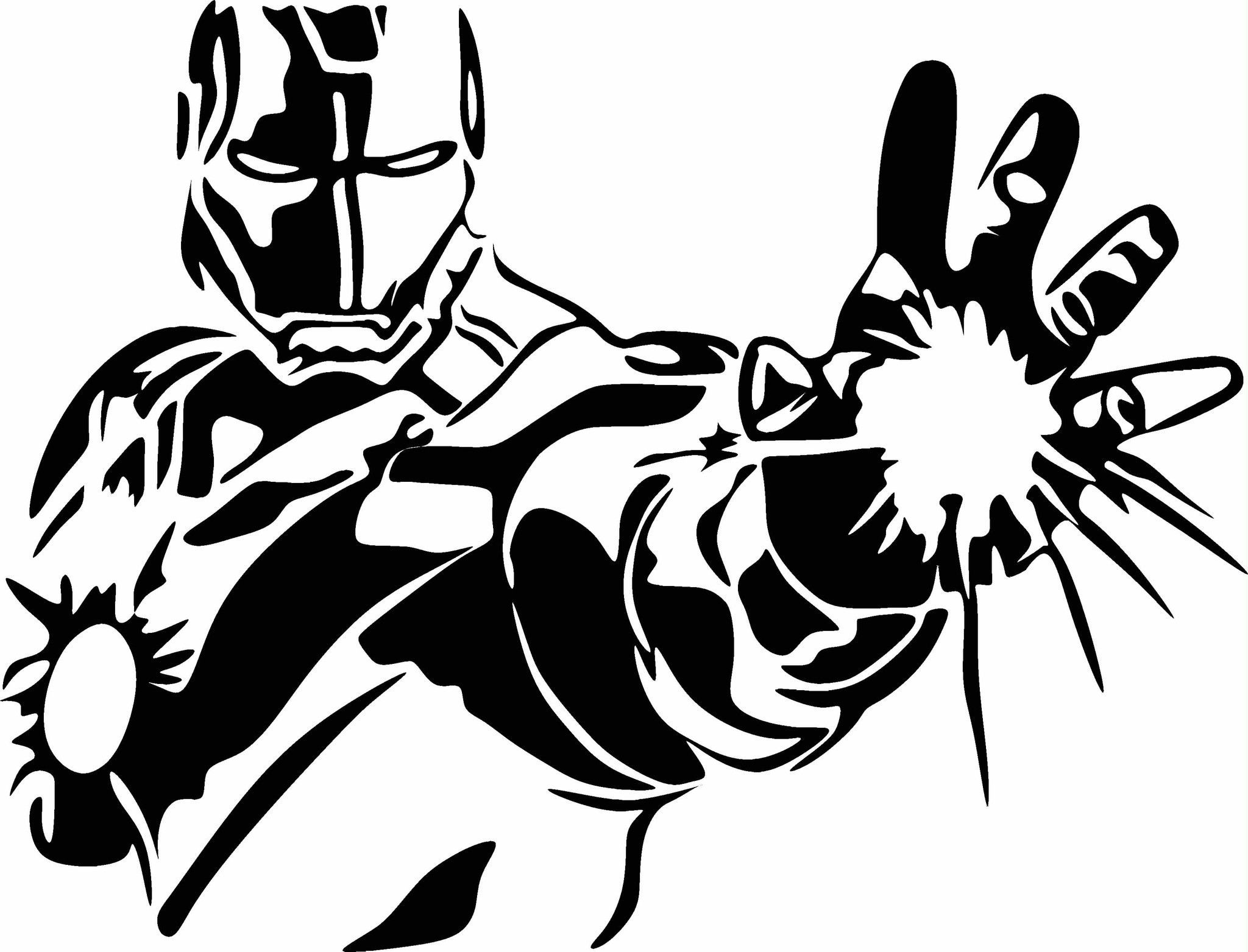 Iron Man W Open Hand Vinyl Decal Graphic