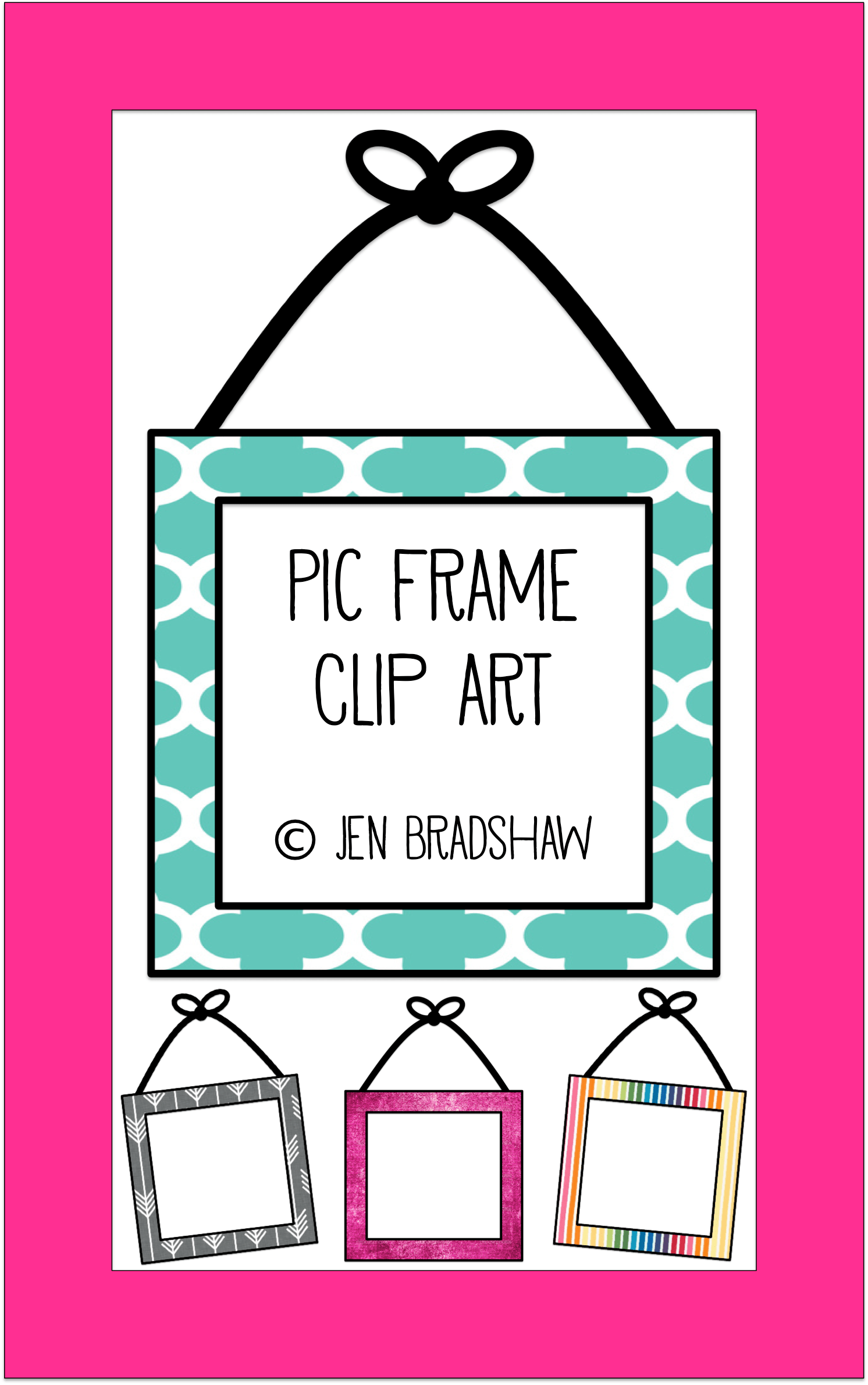 Clip Art For Teachers Picture Frame With Hanging Bow