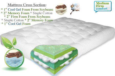 Liquid Sky Gel Mattress Memory Foam Cotton Futon Twin Full Double Queen King Loveseat On Now Cooling Organic