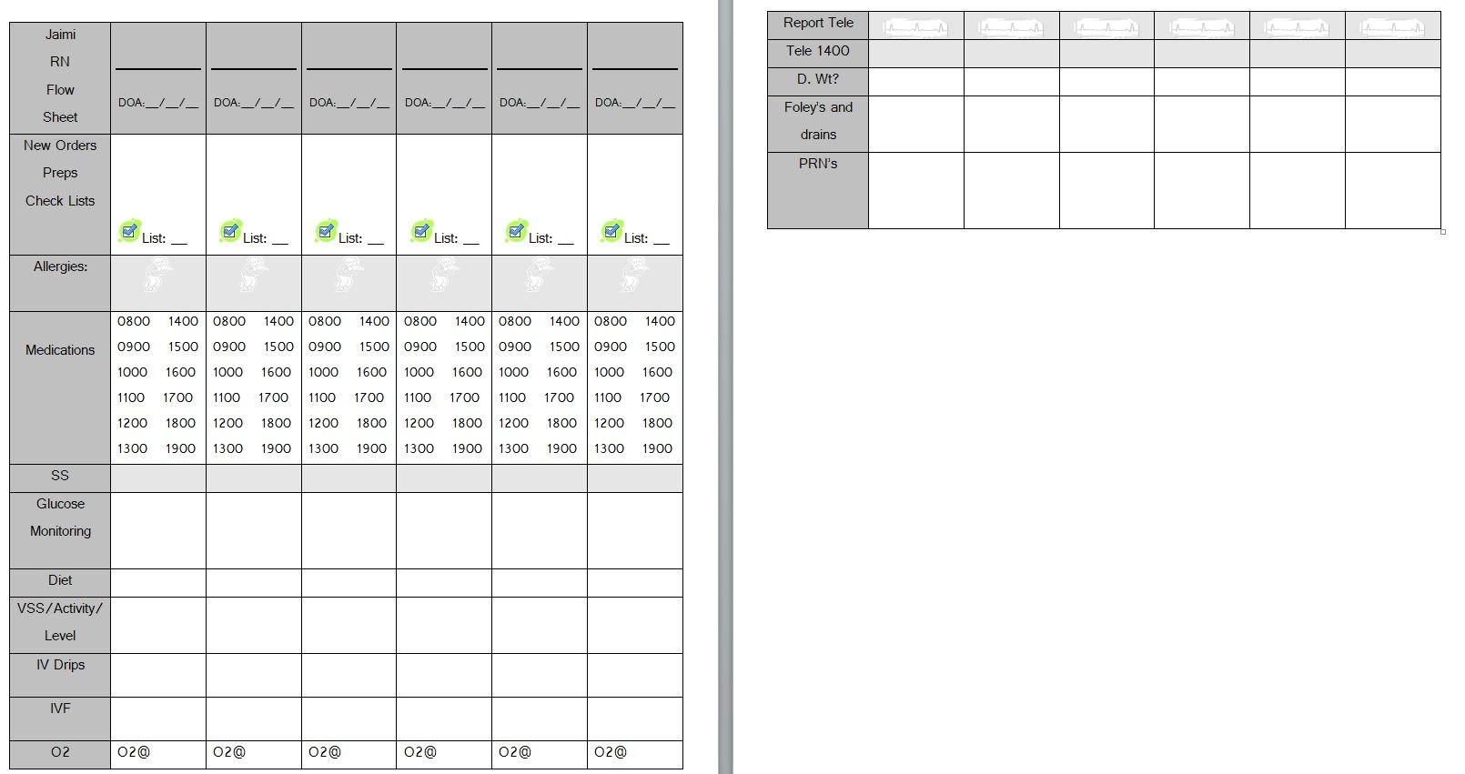 Nurse Brain Sheets Multiple Patient