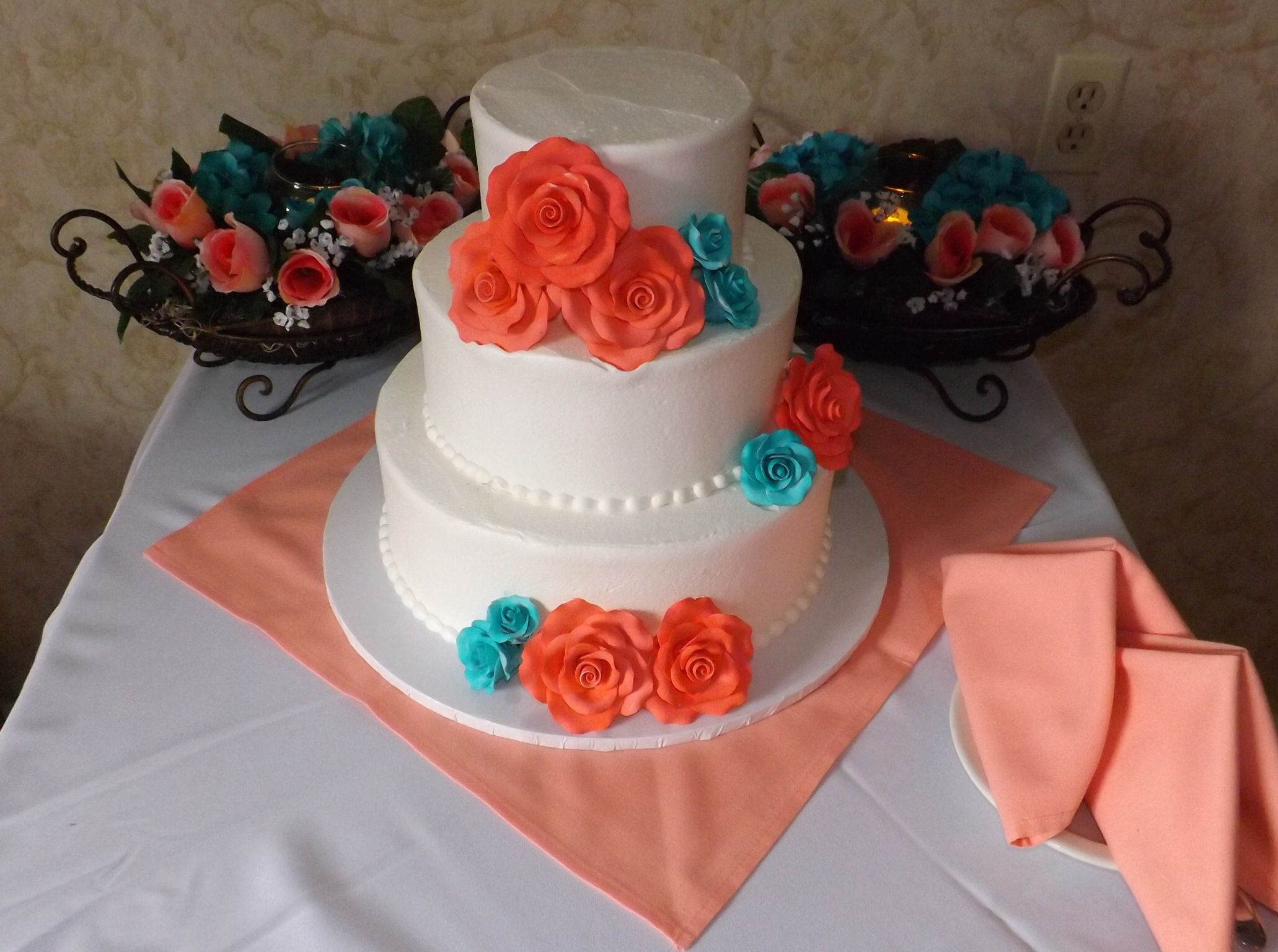 Coral And Teal Wedding Cake