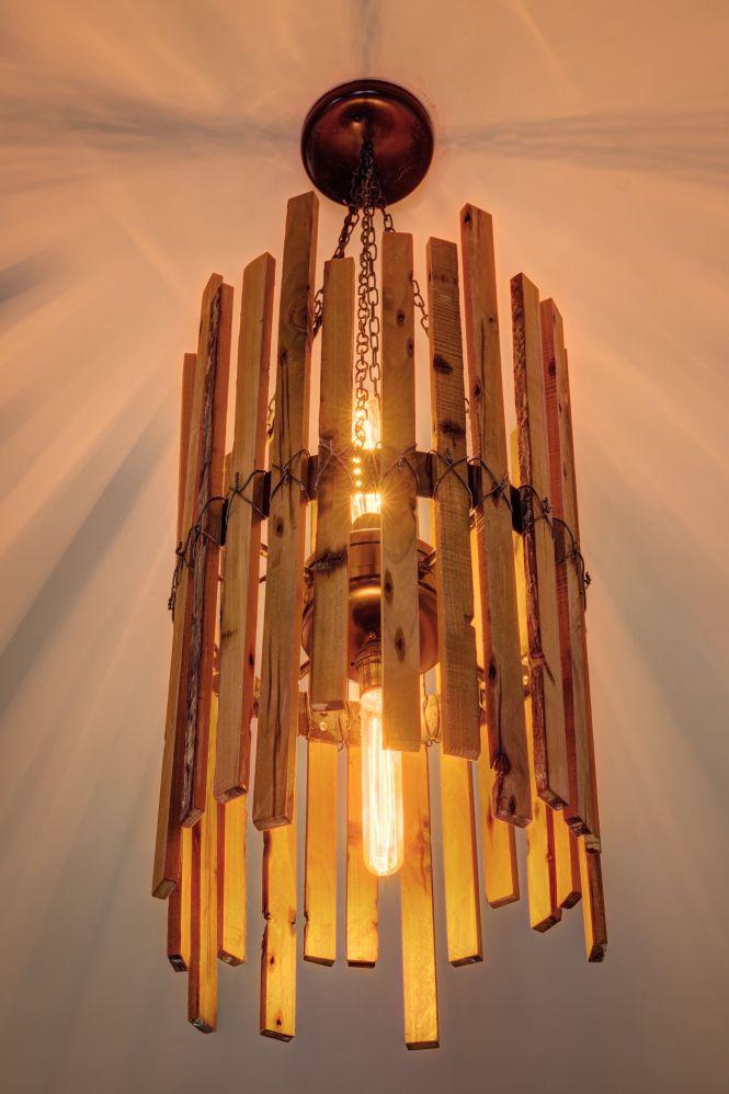 Custom Made Rainbow Poplar Chandelier With Edison Bulbs 735 Lights To Make Pinterest Chandeliers And Wood Slats