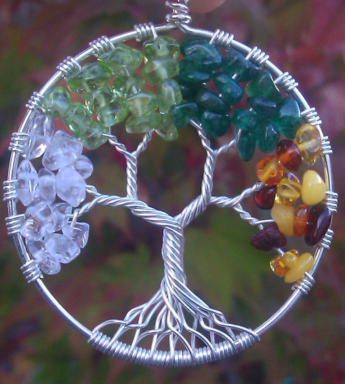 Four Seasons Tree Of Life Pendant 125 00 Via Etsy