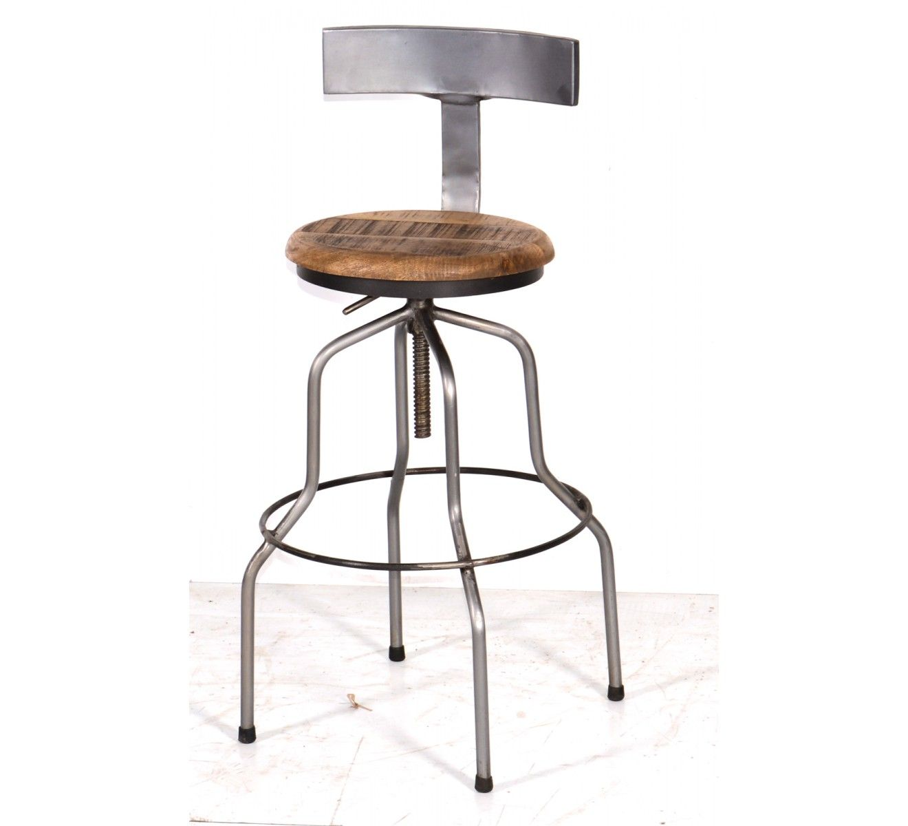 tabouret de bar metal et bois industriel reglable atelier grey
